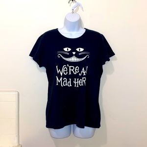 """Women's Cheshire Cat """"We're All Mad Here"""" Graphic Tee"""